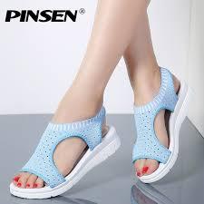 PINSEN <b>2019</b> Sandals <b>Women Summer Shoes</b> Breathable <b>Female</b> ...