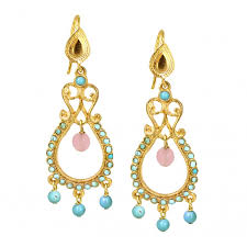 turquoise and pink agate delicate beaded chandelier earrings