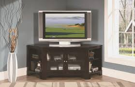 black wooden corner tv stand with glass doors and racks of dazzling