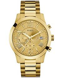 guess guess macy s guess men s chronograph gold tone stainless steel bracelet watch 45mm u0668g4