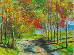 landscape painting alley avenue beautiful original oil painting plein air by andrew semberecki