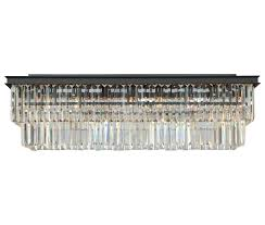 d angelo 40 inch clear glass crystal prism flush chandelier