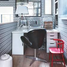 small office home office design. Geometric Home Office With Statement Wallpaper, Black Swivel Chair And Red Small Design