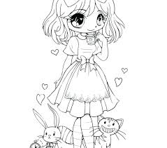 cute coloring pages for girls.  Coloring Cute Chibi Coloring Pages To On  Drawings Snoopy Anime Girl Inside For Girls