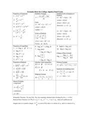 Formula Sheet For Intermediate Algebra Final Exam Formula