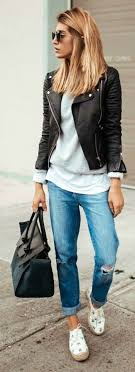 19 ways to wear a leather jacket outfit women work outfits