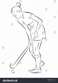 Illustration Field Hockey Player Black White Stock Vector