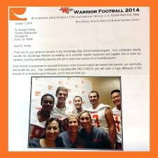 High School Football Team Thank You Letter Orthodontics Sponsorship ...