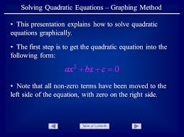 solving quadratic equations graphing method