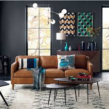 gray walls leather couch. contemporary living room | grey walls tan leather sofa mid century style gray couch d