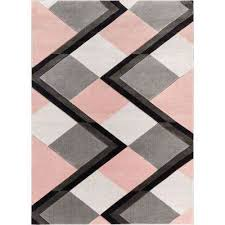 good vibes nora blush pink modern geometric stripes and boxes 7 ft 10 in
