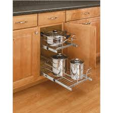 storage baskets chrome double pull out wire baskets w full extension slides by rev a shelf kitchensource