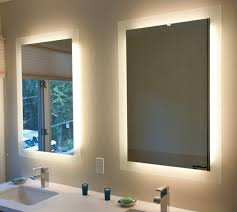Contemporary Yellow Bathroom Mirrors With Led Lights Behind The Furniture  Wall Mounted Clean Clear Unique Electric