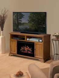 dimplex brookings dark oak electric fireplace media cabinet with logs gds25 1055do