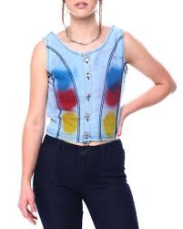 Женская жилетка Fashion Lab Brushed Paint Raw Edge Denim Vest