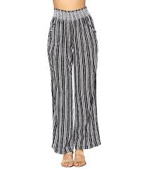 Ci Sono By Cavalini Black Stripe Smocked Waist Ella Palazzo Pants Women