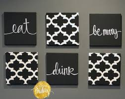 eat drink be merry black white wall art 6 pack canvas wall hanging painting fabric dining room decor kitchen sign modern chic wall decor on food and drink canvas wall art with black white eat drink be merry wall art 6 pack canvas wall