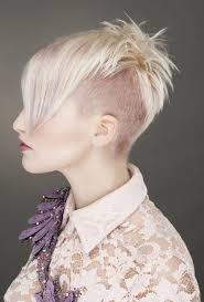 Short Blonde Straight Coloured Multi Tonal Choppy Shaved Sides Womens Haircut Hairstyles For Women