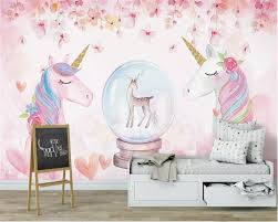 Beibehang Custom 3d Wallpaper Watercolor Unicorn Art Mural Life