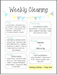 weekly house cleaning schedules schedule template checklist home care sche