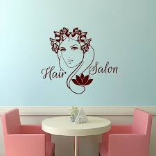 Wall Decor Stickers For Living Room Hair Salon Wall Decor Sticker Creative Lotus Girls Wall Decals