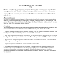 civilizations of the americas dbq this task is based on the