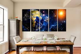 5 piece canvas wall art blue space photo canvas planet large pictures dining on interior design canvas wall art with 5 piece huge canvas print earth multi panel art space wall decor