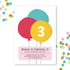 Balloon Birthday Invitations Balloon Birthday Invite Pink Puff Paper Co