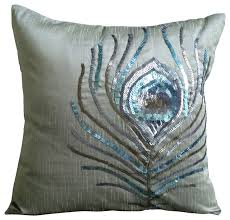 Decorative Pillows With Feather Design Adorable Sequins Peacock Feather Silver Art Silk Pillow Covers Peacock
