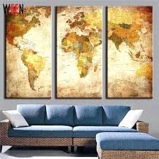 world map wall art framed 3 panels world map wall pictures for living room modern canvas print retro home art decoration with frame in painting calligraphy  on world map wall art with photo frames with world map wall art framed 3 panels world map wall pictures for