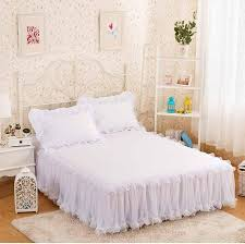 extra long bed skirt. Plain Extra Snow White Lace Bed Skirt Pillow Cases 1 Wedding Princess Bedding Girls  Bedspread Sheet For Gifts King Queen Full Size Ruffle Crib Extra Long  Inside N