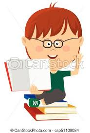 cute nerd little boy shows open textbook sitting on stack of books csp51109084
