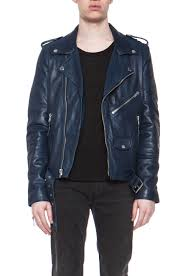 image 1 of blk dnm iconic leather motorcycle jacket in ink blue