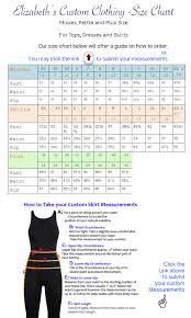 Custom Size Chart Elizabeth Custom Clothing Size Chart Elizabeths Custom Skirts