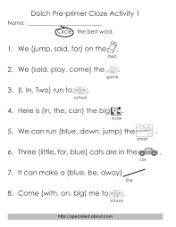 Free Printable Worksheets for Dolch High Frequency Words