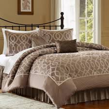 elegant brown and white patterned comforter set with curved metal