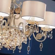 modern italian 6 arm brushed gold chandelier