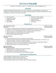 Cover Letter Massage Therapist Massage Therapist Resume Example
