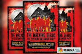 Costume Contest Flyer Template Walking Deads Party Flyer Template Free Download Vector