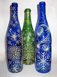 shiny decorated empty glass bottles diy homemade ideas