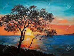 oil painting on canvas tree near the lake at sunset wallpaper decoration stock