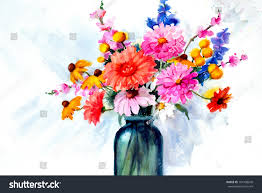 beautiful flower vase paintings elegant original art beautiful watercolor painting flowers stock of beautiful flower vase