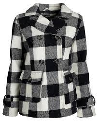 urban junior women classic wool look padded winter dress peacoat jacket pea coat plaid 18 js76832