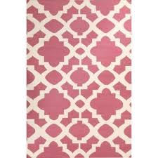 nomad trellis flat woven wool rug 225x155cm pink