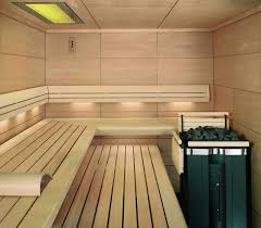 Small Sauna Room Interior Design Ideas With L Shape Bench Also Modern Coal  Heat Machine Plus Recessed Lighting