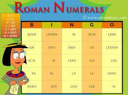 Roman Numerals Printable Chart Roman Numerals Bingo Free Printable Roman Numerals Bingo