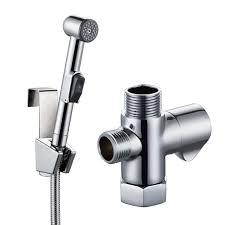 KES SOLID BRASS Toilet Handheld Bidet Sprayer with TAdapter Valve Hose and  Bracket Holder Toilet Attachment Cloth Diaper Sprayer Bathroom Spray Wand