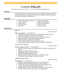 Entry Level Resume Template Experience Icon Mechanic Installation