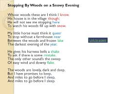 "frost s ""stopping by woods on a snowy evening"" an analysis ppt  stopping by woods on a snowy evening"