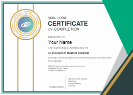 What Is Course Completion Certificate Cfd Engineer Masters Program Courses Skill Lync